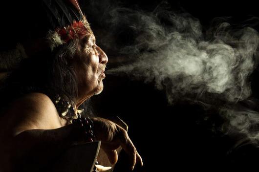 Sjamaan ayahuasca ceremonie